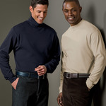 Adult Egyptian Interlock Cotton Long-Sleeve Mock Turtleneck