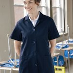 Ladies' Loose Fit Short Sleeve Button Smock